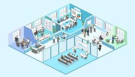Isometrisk vektor för begrepp för inreavdelningar konferenskorridor, kontor, arbetsplatser royaltyfri illustrationer