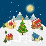 Isometrisk vektor för lägenhet för träd för gran för hus för nytt år för glad jul vektor illustrationer