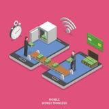 Isometrisk vektor för mobil lägenhet för pengaröverföring Fotografering för Bildbyråer
