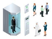 Isometrisk vektordesign av hissen med folk inom och knapppanelen Realistisk tom hisskorridorinre med royaltyfri illustrationer