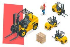 Isometrisk vektorgaffeltruck som isoleras på vit Uppsättning för lagringsutrustningsymbol Gaffeltruckar i olika kombinationer stock illustrationer