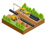 Isometrisk vektorillustration av konstruktionsprocessen Byggnation på lägga för rör av rörledningen in i stock illustrationer