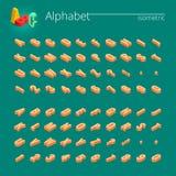 isometrisk vektorstilsort för alfabet 3d Isometriska bokstäver, nummer och symboler Tredimensionell materielvektortypografi för Arkivbild