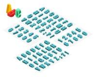 isometrisk vektorstilsort för alfabet 3d Isometriska bokstäver, nummer och symboler Tredimensionell materielvektortypografi för Arkivfoton