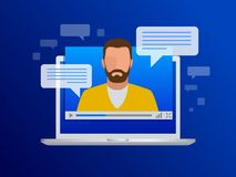 Isometrisk videotryckning Video kurser, utbildning eller utbildning för sikt på en bärbar dator Lära språk stock illustrationer