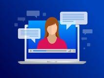 Isometrisk videotryckning Video kurser, utbildning eller utbildning för sikt på en bärbar dator Lära språk royaltyfri illustrationer