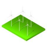 Isometrisk vindturbin på grönt land Arkivbilder