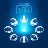 Isometrisk virtuell verklighethörlurar med mikrofon Royaltyfria Foton