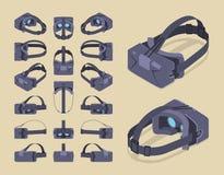 Isometrisk virtuell verklighethörlurar med mikrofon Fotografering för Bildbyråer