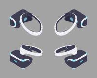 Isometrisk virtuell verklighethörlurar med mikrofon arkivbild