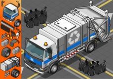 Isometrisk vit avskrädelastbil i Front View Arkivfoton
