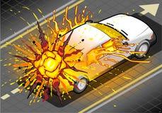 Isometrisk vit bil i explosion i bakre sikt Arkivfoto