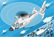 Isometrisk vit helikopter i flykten i Front View Arkivfoton