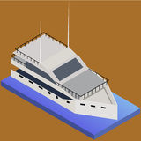 Isometrisk yacht Marin- nautisk transport royaltyfri illustrationer