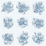 Isometriska abstraktioner med linjer och olika beståndsdelar, vektor Arkivfoton