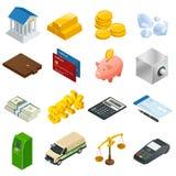 Isometriska affärs- och finanssymboler Plan isometrisk illustration 3d För infographics och design Royaltyfri Bild
