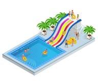 Isometriska Aqua Park med vattenglidbanor, vattenpölen, folk eller besökare och gömma i handflatan Vektorillustration som isolera stock illustrationer