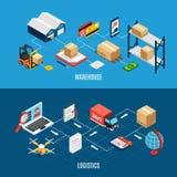 Isometriska baner för logistik royaltyfri illustrationer