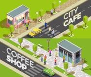 Isometriska baner för stads- kafé royaltyfri illustrationer