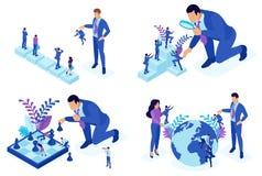 Isometriska begrepp av anställdvalet, karriärutveckling, befordran För website och mobil applikationdesign arkivfoton