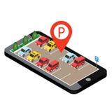 Isometriska bilar i bilparkeringen Mobilt sökande Söka efter parkering Infographic plan isometrisk stads- stad 3d arkivbilder