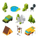 Isometriska bilder av att campa Trädgården stenar och vaggar, tältet Bilder för vektor 3d Fotografering för Bildbyråer