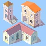Isometriska bostads- byggnader för vektor i tecknad filmstil Royaltyfri Fotografi