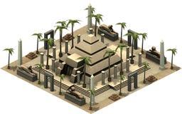 Isometriska byggnader av forntida Egypten, pyramid framförande 3d vektor illustrationer