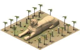 Isometriska byggnader av forntida Egypten, sfinx framförande 3d royaltyfri illustrationer