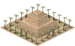 Isometriska byggnader av forntida Egypten, trappapyramid framförande 3d vektor illustrationer