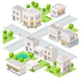 Isometriska byggnader för stad Arkivbild