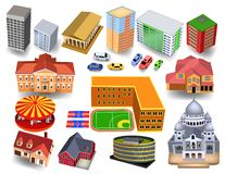 Isometriska byggnader för stad 3D som skolan, kyrka, museum, hotell, hus royaltyfri illustrationer