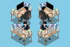 Isometriska 3d av affärsmannen, som sitter och arbetar mycket hårt som går att evakuera och känna sig, som han ska köra ut ur bat vektor illustrationer