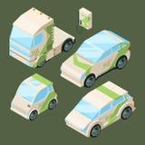 Isometriska elbilar Olika isolerade ecobilar stock illustrationer