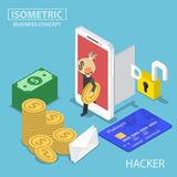Isometriska en hackerstöldpengar och data från smartphonen Arkivbild