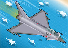 Isometriska Eurofighter i flykten i Front View Arkivfoton