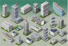 Isometriska europeiska byggnader stock illustrationer