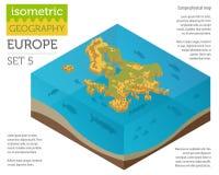 Isometriska för översiktskonstruktör för 3d Europa fysiska beståndsdelar på waten