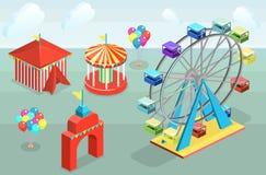 Isometriska för vektorstad för lägenhet 3D baner med karuseller hjul för vektor för park för munterhetferrisnatt royaltyfri illustrationer