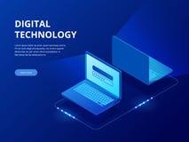 Isometriska förbindelseTechapparater, stora data - bearbeta, energistation av framtid, serverrumkugge, datorhallbegrepp royaltyfri illustrationer