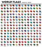 Isometriska flaggor av världen vektor illustrationer