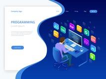 Isometriska framkallande programmera och kodifiera teknologier Webbdesign Ung programmerare som kodifierar nytt använda för proje stock illustrationer