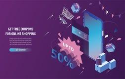 Isometriska fria rabattkuponger som shoppar direktanslutet, mobilt lager och e-kommers i smart telefon med purpurfärgad och blå b stock illustrationer