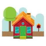 Isometriska Front Simple House Royaltyfria Bilder