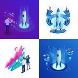 Isometriska fyra begrepp av Businnes startar upp för webbsidan, banret, presentationen, socialt massmedia Inkomst och framgång royaltyfri illustrationer