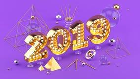 2019 isometriska illustration 3D för lyckligt nytt år för affisch eller hälsningkortdesign royaltyfri fotografi
