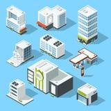 Isometriska illustrationer för vektor av stormarknaden, banken och andra kommunala byggnader för service och vektor illustrationer