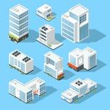 Isometriska industribyggnader, kontor och tillverkade hus för vektorillustration för översikt 3d uppsättning royaltyfri illustrationer