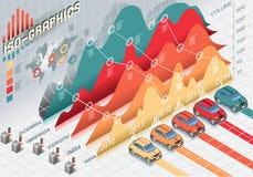 Isometriska Infographic fastställda beståndsdelar med stordian Royaltyfri Bild