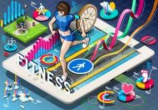 Isometriska Infographic med att jogga kvinnan Arkivbild